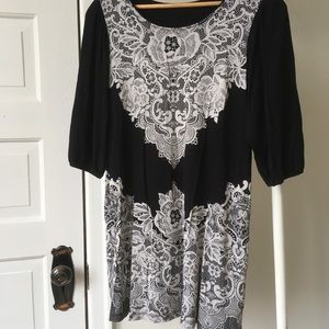 Soft black and lace print dress size MED